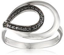 Ring 925 Silber rhodiniert Zirkonia Schwarz Brillantschliff