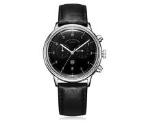 Chronograph Quarz Uhr mit Leder Armband DF-9003-01