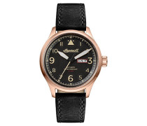 The Bateman Automatic Watch with Schwarz/Gold Dial and Schwarz Leather Strap I01803