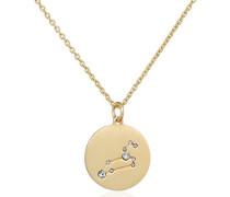 Kette mit Anhänger teilvergoldet Kristall weiß Rundschliff 27 cm - 521612071