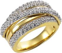 Celesta Silber Ring 925 Sterling Silber teilvergoldet Zirkonia weiß Brillantschliff