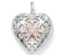 Anhänger Medaillon mit kleinem Herz innen 925 Silber - PE639-415-12