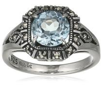 Ring 925 Silber vintage-oxidized Topas blau Markasit 56 (17.8) - L0028R/90/W4/56