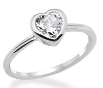 Ring 925 Sterling-Silber hochglanzpoliert Zirkonia Herz MPS019RO