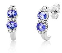 Ohrringe Weißgold 9 Karat/375 Gold Ohrstecker Tansanit mit Diamant Brillianten