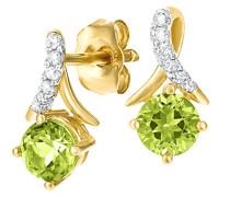 9 k (375) Gelbgold Rundschliff grün Péridot Diamant