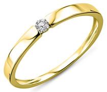 Ring Solitär Verlobungsring Gelbgold 9 Karat / 375 Gold Diamant Brilliant 0.05 ct