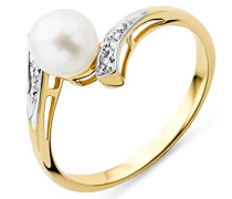 Ring Gelbgold 9 Karat/375 Gold Süßwasserperle mit Diamant Brillianten