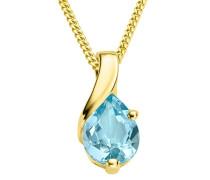 Kette - Halskette Gelbgold 9 Karat/375 Gold Kette Blauer Topas 45 cm