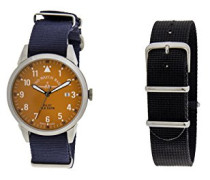 Zeno Datum klassisch Quarz Uhr mit Stoff Armband ZE5231-2