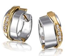 Creolen 585 Gelbgold und 925 Sterlingsilber 10 Diamanten Ohrringe Brillanten Schmuck