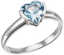 Damen-Ring Herz 375 Weißgold 1 hellblauer Topas