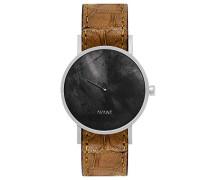 Datum klassisch Quarz Uhr mit Leder Armband SS18-silver-15