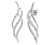 Ohrhänger 9 Karat dreifach Swirl 375 Weißgold rhodiniert Diamant 0