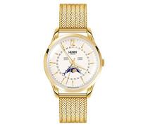 Mondphase Quarz Uhr mit Edelstahl Armband HL39-LM-0160