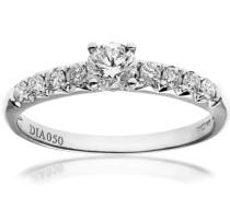 Damen-Ring 18 K Weißgold Diamant 0,50 ct