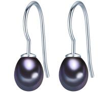 Ohrhänger Hochwertige Süßwasser-Zuchtperlen in ca. 8 mm Tropfenform blau 925 Sterling Silber - Perlenohrhänger mit echten Perlen Dunkelblau 354023