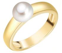 Ring gelbvergoldet 925 Silber teilvergoldet Perle Süßwasser-Zuchtperle Creme