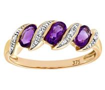 Damen-Ring 9 K 375 Gelbgold Amethyst Diamant