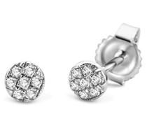 Ohrringe Ohrstecker Weißgold 9 Karat/375 Gold Diamant Brillianten 0.05 ct