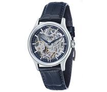 Bauer Shaddow ES-8061-02 mechanische Armbanduhr, blaues Zifferblatt mit Skelett-Anzeige