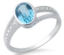 Ring 375 Weißgold mit Blau Topas und 10 Brillanten 0