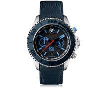 BMW Motorsport (steel) Dark & Light BE - Blaue Herrenuhr mit Lederarmband - Chrono - 001121 (Large)