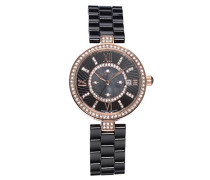 Armbanduhr - Analog Quarz - Premium Keramik Armband - Perlmutt Zifferblatt - Diamanten und Swarovski Elemente - STM15SM4