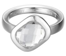 Ring 925 Sterling Silber rhodiniert Glas Glaskristall side sway weiß