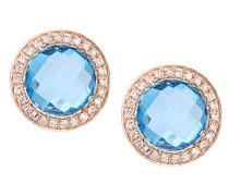 Ohrringe 9 Karat 375 Roségold Rundschliff blau Topaze Diamant DE1678RBT