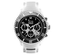 ICE sporty White Black - Weiße Herrenuhr mit Silikonarmband - Chrono - 001336 (Extra Large)