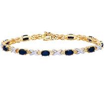 Armband 375 Gelbgold Saphir schwarz Ovalschliff Diamant 1
