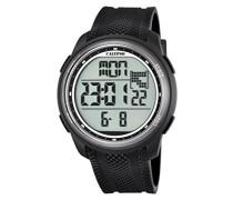 Armbanduhr Digitaluhr mit LCD Zifferblatt Digital Display und schwarz Kunststoff Gurt K5704/8