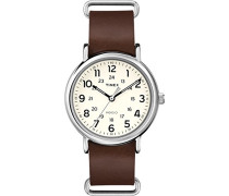 Armbanduhr Originals Weekender Analog Quarz Braun Leder T2P495