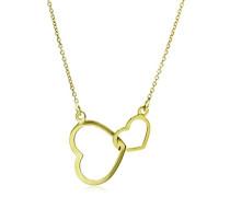 Kette - Halskette Gelbgold 9 Karat / 375 Gold Kette mit Herz 45 cm