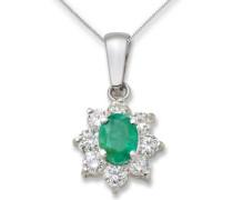 Kette mit Anhänger 9 Karat (375) Weißgold mit einem Smaragd 0,35ct umrahmt von 8 Diamanten ca. 0