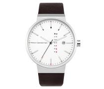 Herren Analog Quarz Uhr mit Leder Armband FC1283T