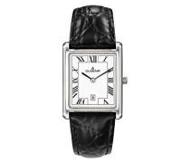 Armbanduhr Quadra Classica Leder schwarz/silber