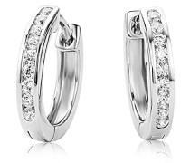 Creolen – Elegante Ring-Ohrringe aus 925 Sterling Silber mit 18 farblosen Zirkonia-Steinen – Damenschmuck Ø 16 mm
