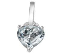 Halskette 9 Karat 375 Weißgold Herz Aquamarin 3 Diamanten SI/H 0