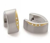 Creolen Ohrring Titan teilvergoldet Diamant (0.001 ct) weiß - 05002-04