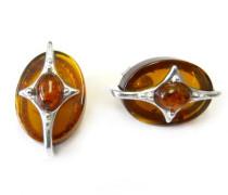 Scheibe mit Bernstein Sterling Silber Stern Design Ohrstecker Ohrringe