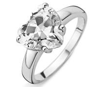 Ring 925 Silber rhodiniert Zirkonia weiß Rundschliff