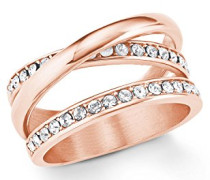 Ring Edelstahl IP Rose veredelt mit Swarovski Kristallen