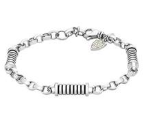 Sterling Silber gestreiftes Zylindrische Glieder Armband verstellbar 20cm - 21.5cm