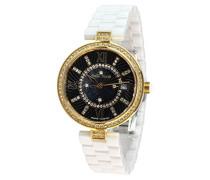 Armbanduhr - Analog Quarz - Premium Keramik Armband - Perlmutt Zifferblatt - Diamanten und Swarovski Elemente - STM15SM5