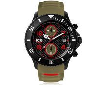 ICE carbon Black Khaki - Grüne Herrenuhr mit Silikonarmband - Chrono - 001318 (Extra Large)