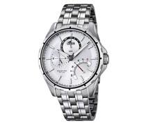 Quarz-Armbanduhr mit Silber Zifferblatt Analog-Anzeige und Silber Edelstahl Armband 18203/1