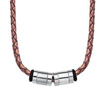 Halskette 47+3cm Edelstahl Lederband geflochten braun