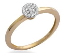 Ring Solitär - Look 375 Gelb-/Weißgold mit 0.1ct Brillanten